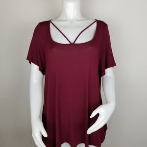 Living Doll 1X Maroon Shirt
